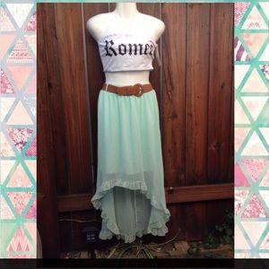 Dresses & Skirts - Light Teal Waist-Belt Long Frill-Flow Skirt